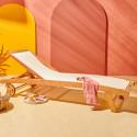Bain de soleil en bois avec roues et tissu écru