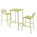 table bar vert et 2 tabourets