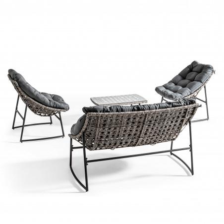 Salon de jardin 4 places avec coussins gris