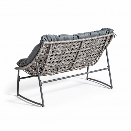Canapé de jardin résine et métal avec coussins gris