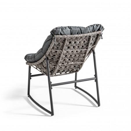 Fauteuil de jardin résine et métal avec coussins gris