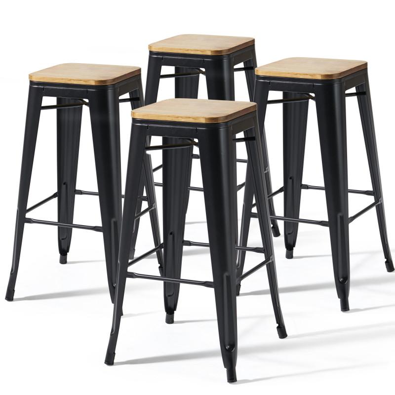 Lot de 4 tabourets indus avec assise en bois