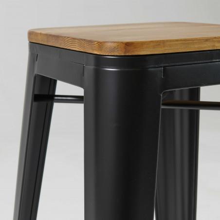 Focus tabouret industriel noir et bois