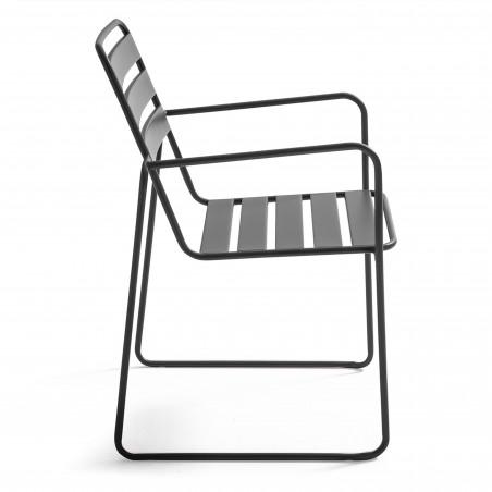 Chaise de jardin GRISE avec accoudoirs en métal