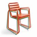 Chaise de jardin métal empilables avec accoudoirs