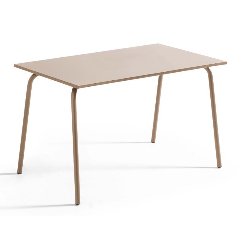 Table rectangulaire en métal TAUPE