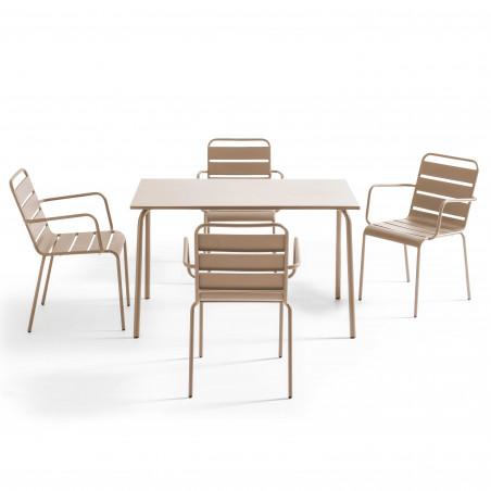 Salon table en métal  4 personnes TAUPE