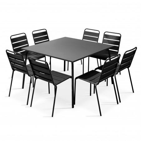 Salon de jardin table en métal carrée GRISE