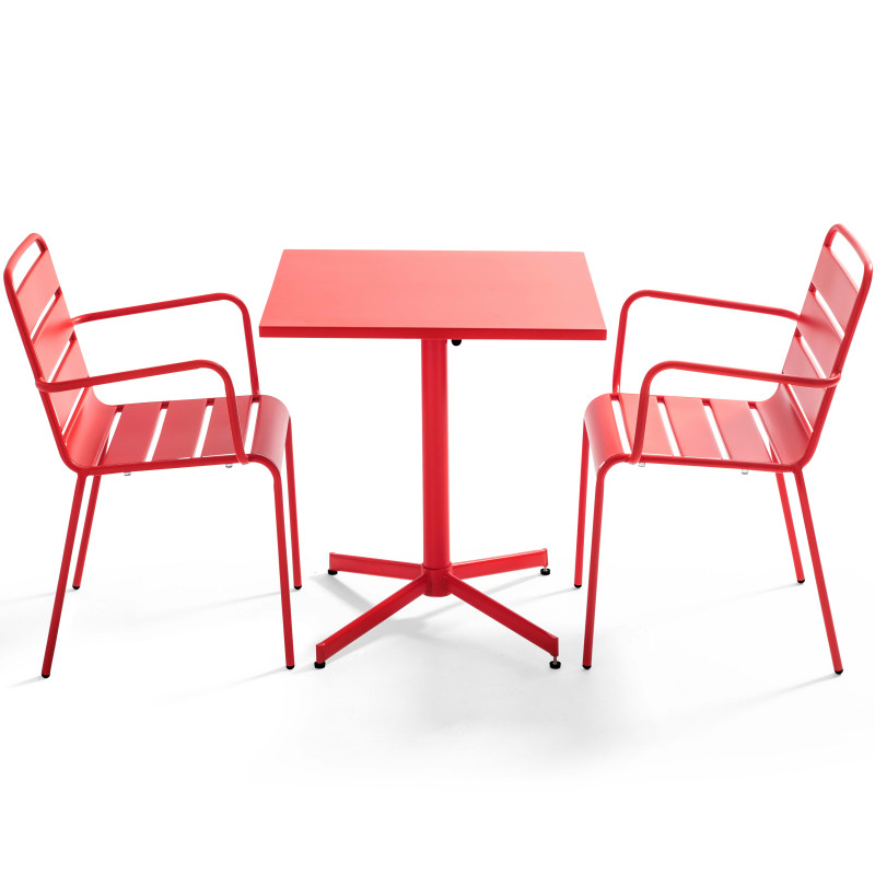 Table carrée rabattable ROUGE et 2 fauteuils en métal