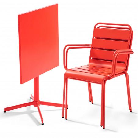 Table carrée ROUGE rabattable et 2 fauteuils en métal
