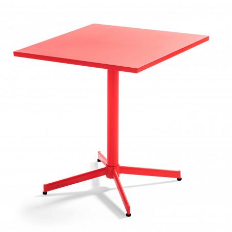 Table carrée rabattable métal ROUGE restaurant brasserie