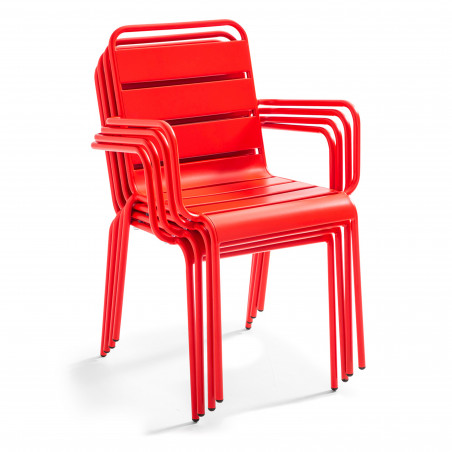 Chaise empilable en métal brasserie restaurant ROUGE