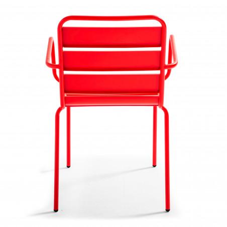 Chaise avec accoudoirs ROUGE brasserie restaurant