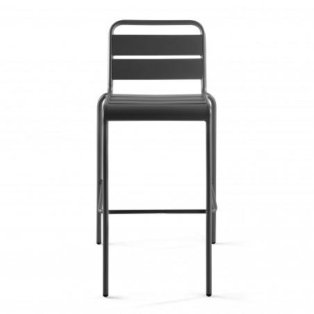 Chaise haute GRISE en métal avec dossier