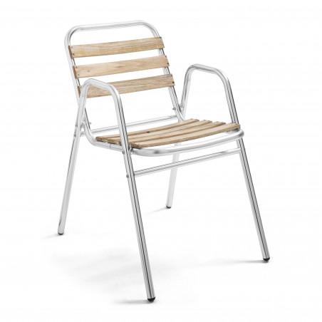 Chaise de jardin accoudoirs bois et aluminium