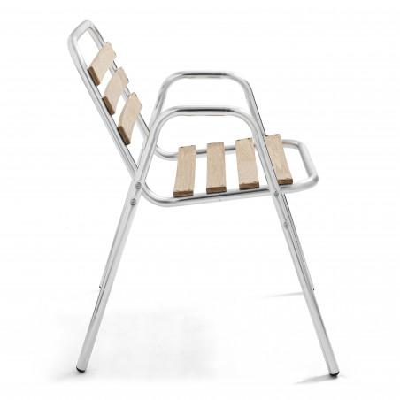 4 fauteuils de jardin en alu et bois