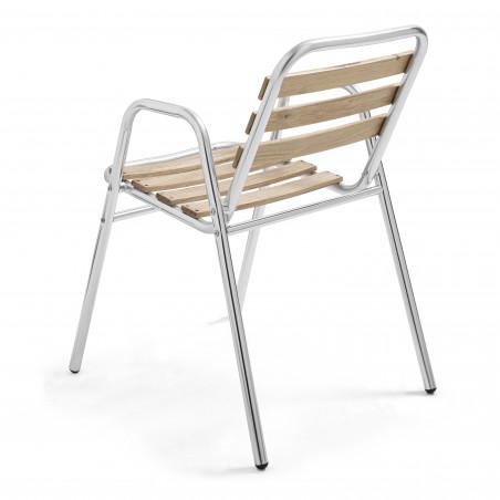 4 chaises de jardin en alu et bois