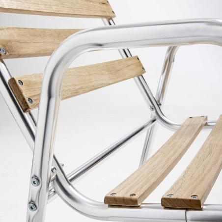 Lot de 4 fauteuils de jardin bois et aluminium