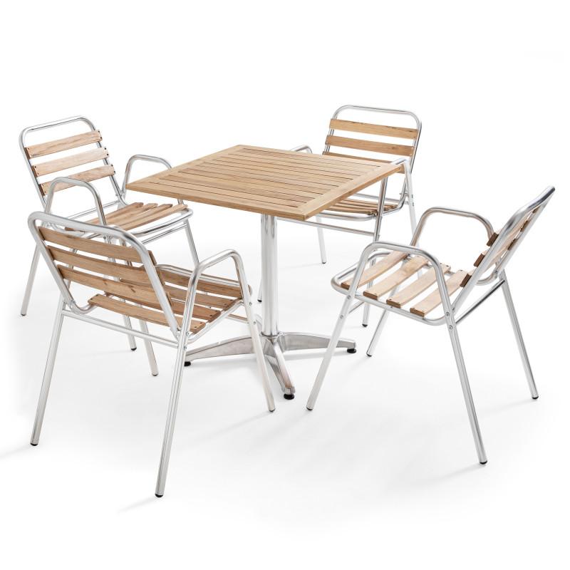 Table brasserie plateau bois et 4 chaises aluminium et bois