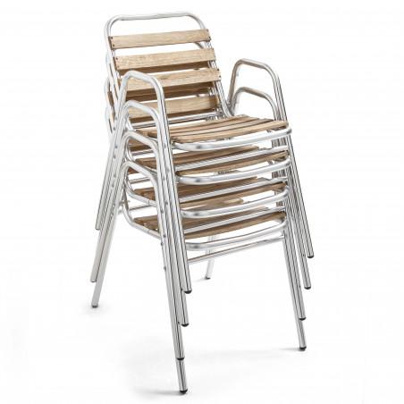 Chaise empilable bistro aluminium et bois