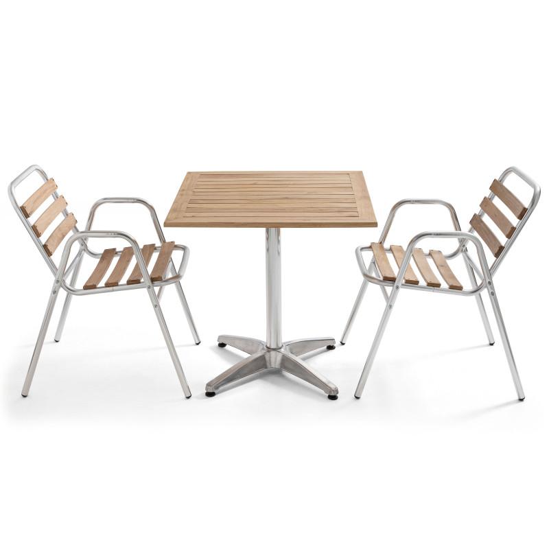 Table bistro avec plateau en bois et 2 chaises alu