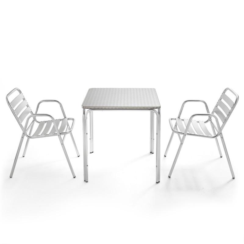 Table bistro CHR en aluminium et 2 fauteuils