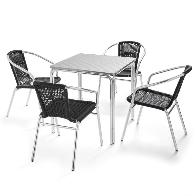 Table carrée bistro et 4 fauteuils en résine noir