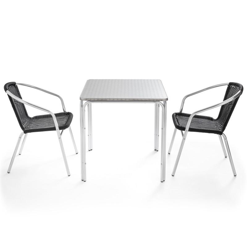 Table bistro carrée et 2 fauteuils en résine NOIRE