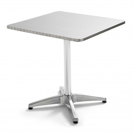 Table carrée bistro en aluminium