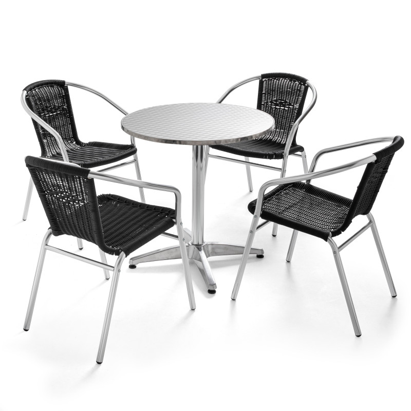 Table ronde en aluminium et 4 fauteuils en résine noir