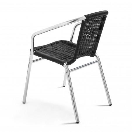 Chaise bistro avec accoudoirs noir