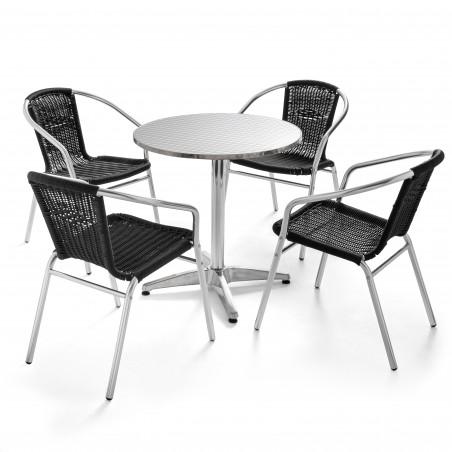 Table bistro CHR ronde 4 places en aluminium