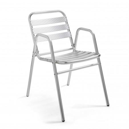 Chaise de terrasse grise avec accoudoirs