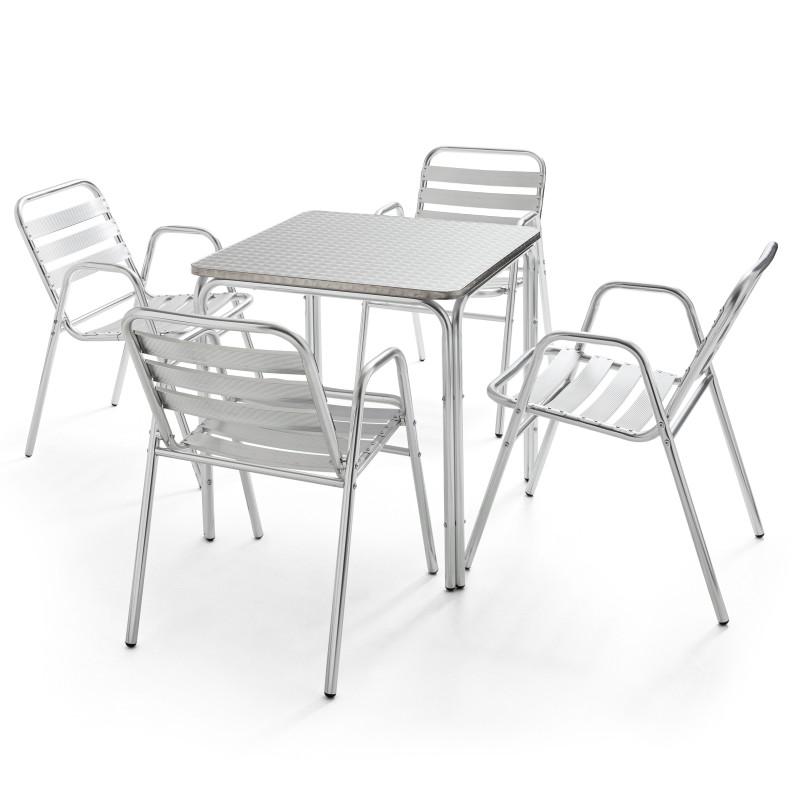 Table carrée CHR en alu et 4 fauteuils de terrasse empilables