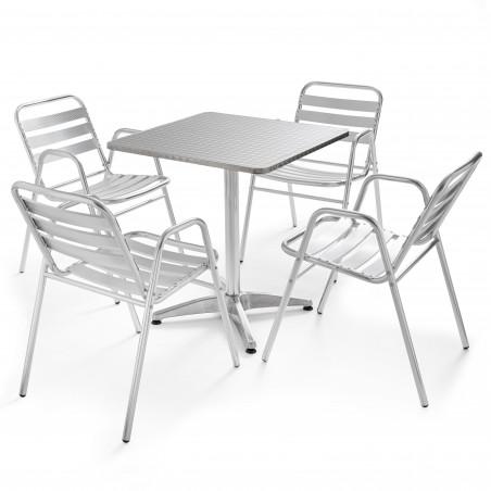 Table carrée en aluminium et 4 chaises de terrasse grises