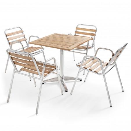 Table carrée en alu et bois et 4 chaises bistro CHR