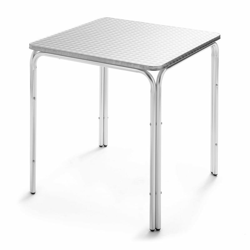 Table carrée bistro 4 places café restaurant en aluminium
