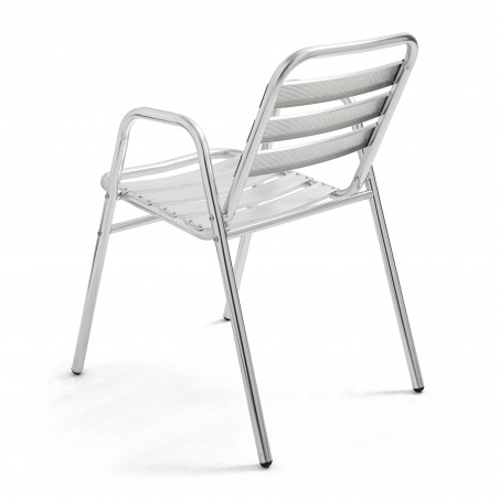 Chaise terrasse brasserie en aluminium avec accoudoirs
