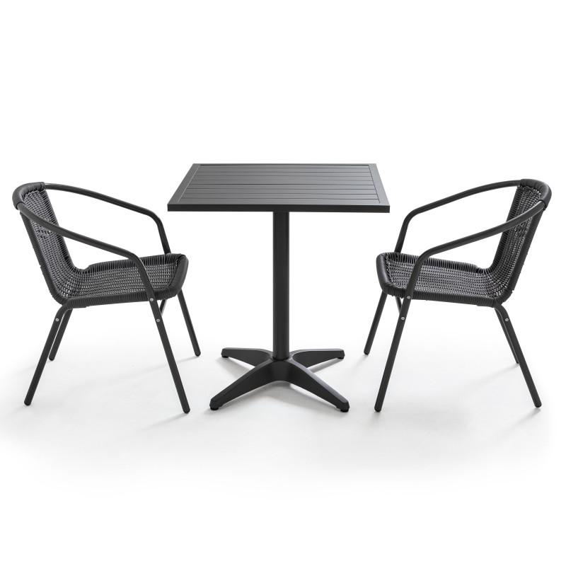 Table carrée GRISE CHR et 2 chaise aluminium et résine