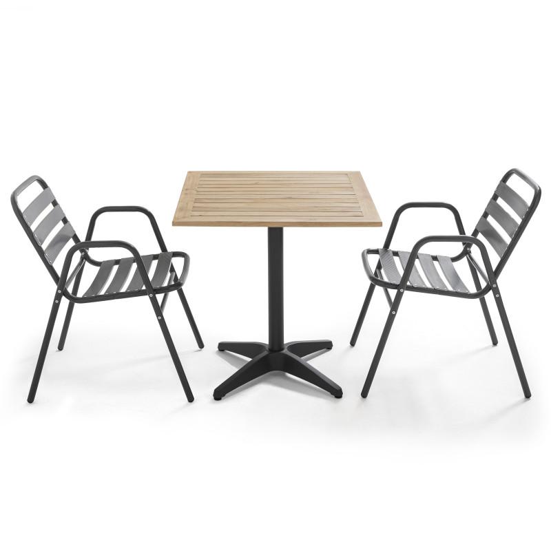 Table carrée bois bistro CHR et 2 fauteuils gris aluminium