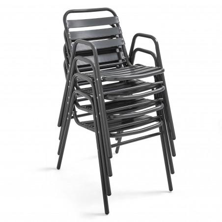 Chaise grise aluminium empilable pour terrasse brasserie restaurant