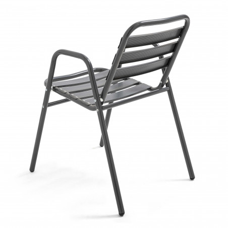 Chaise grise avec accoudoir en alu terrasse pro