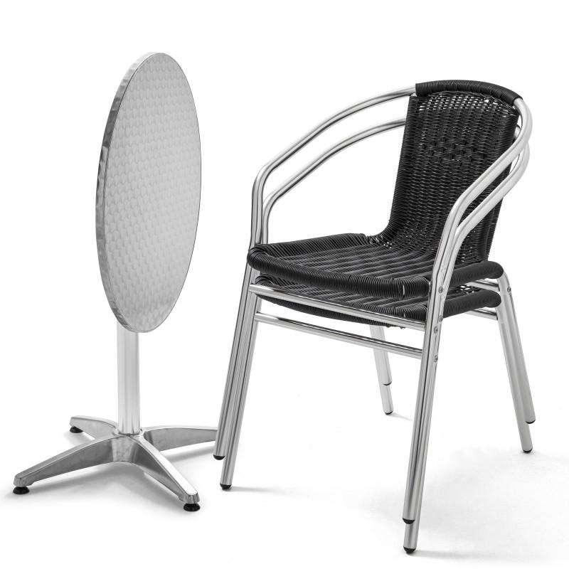 Table ronde alu CHR et 2 fauteuils en résine noir