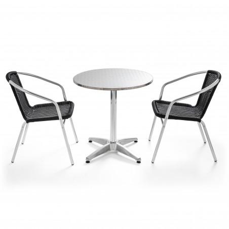 Table ronde bistro alu et 2 fauteuils noir en résine