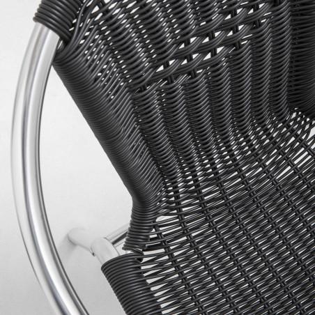 Focus chaise résine noire café hôtel restaurant