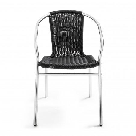 Chaise avec accoudoir café bistro alu et résine