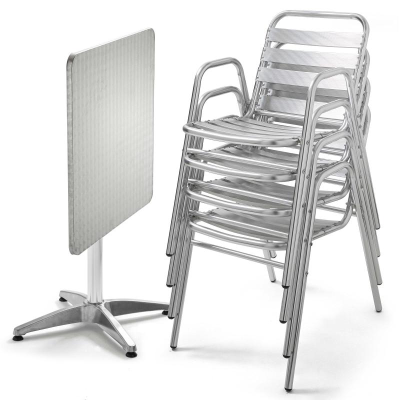 Table carrée terrasse CHR et 4 fauteuils empilables en aluminium