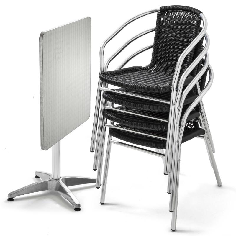 Table carrée 4 places CHR et 4 chaises noires en résine et aluminium