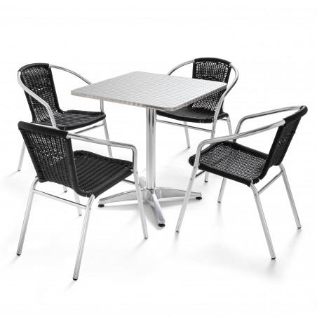 Table carrée CHR et 4 chaises noires
