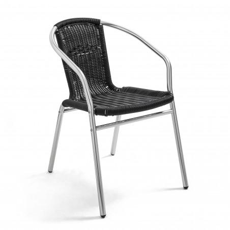 Fauteuil de terrasse café noire structure aluminium